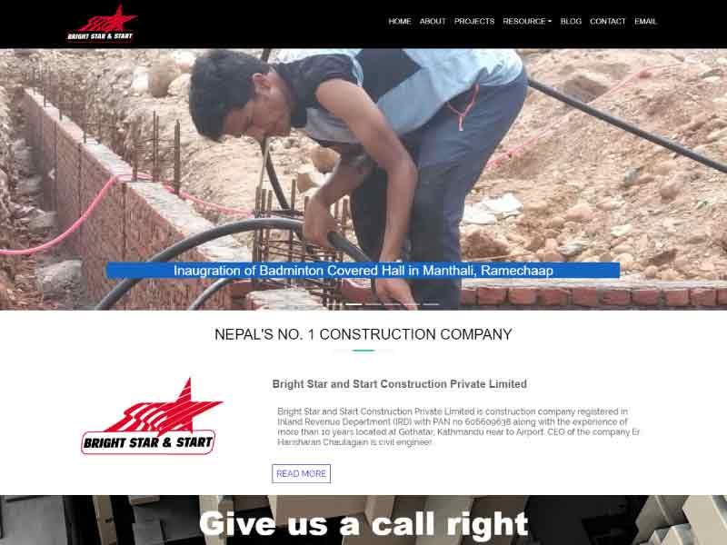 Website of Bright Star and Start Construction Private Limited